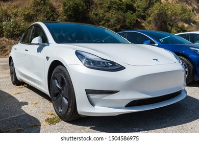 Los Angeles, USA - September 14, 2019: Tesla Tesla Model 3 all electric car during Charge Up LA, electric vehicle EVs and plug-in hybrids PHEVs event.