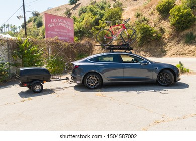 Los Angeles, USA - September 14, 2019: Tesla Model S all electric car during Charge Up LA, electric vehicle EVs and plug-in hybrids PHEVs event.