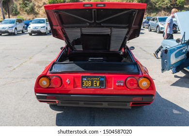 Los Angeles, USA - September 14, 2019: Electric Ferrari 308 GTE during Charge Up LA, electric vehicle EVs and plug-in hybrids PHEVs event.
