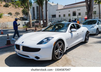 Los Angeles, USA - September 14, 2019: Karma Revero electric sedan during Charge Up LA, electric vehicle EVs and plug-in hybrids PHEVs event.