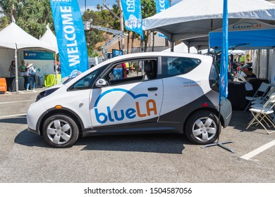 Los Angeles, USA - September 14, 2019: BlueLA electric vehicle car sharing during Charge Up LA, electric vehicle EVs and plug-in hybrids PHEVs event.