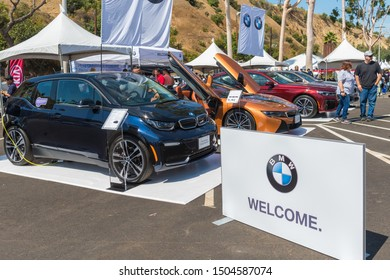 Los Angeles, USA - September 14, 2019: BMW electric vehicles during Charge Up LA, electric vehicle EVs and plug-in hybrids PHEVs event.