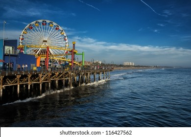 LOS ANGELES, USA - SEPTEMBER 22:  Santa Monica Pier on September 22, 2012 in Los Angeles. The pier is a more than hundred-year-old historic landmark that contains Pacific Park, an amusement park.