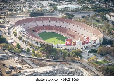 LOS ANGELES, USA - SEPTEMBER 28, 2016: Los Angeles Memorial Coliseum, view from above