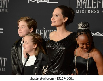 "LOS ANGELES, USA. September 30, 2019: Angelina Jolie & children at the world premiere of ""Maleficent: Mistress of Evil"" at the El Capitan Theatre.