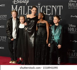 """LOS ANGELES, USA. September 30, 2019: Angelina Jolie & children at the world premiere of """"Maleficent: Mistress of Evil"""" at the El Capitan Theatre.Picture: Jessica Sherman/Featureflash"""