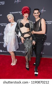 "LOS ANGELES, USA - SEPTEMBER 4, 2018: Sussi (right), Love Bailey (center), Bebe Huxley (left) pose on red carpet at Los Angeles premiere of ""Susanne Bartsch: On Top""."