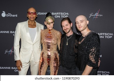 """LOS ANGELES, USA - SEPTEMBER 4, 2018: RuPaul (left to right), Susanne Bartsch, Alexander Smith, Anthony Caronna pose on red carpet at Los Angeles premiere of """"Susanne Bartsch: On Top""""."""