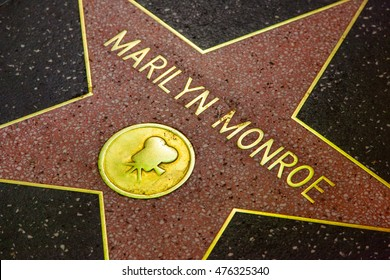 Los Angeles, USA - Thursday, June 9, 2016 - Hollywood walk of fame star. Marilyn Monroe.