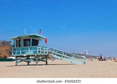 Los Angeles, USA - Thursday, June 9, 2016 - Watch tower at Will Rogers State Beach in California