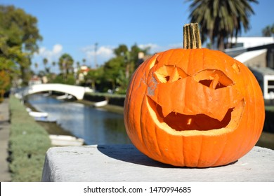 Los Angeles, Venice Beach, Halloween. Orange carved pumpkin sitting in contrast on a bridge in front of a canal with palmtrees, houses and a blue sky in background. Contrary mood.