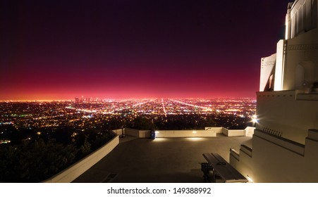Los Angeles view at night time from Griffith Observatory