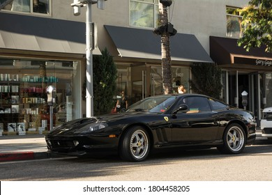 Los Angeles, year 2017: front view of a black Ferrari 550 Maranello parked in the street. Italian supercar in Beverly Hills.