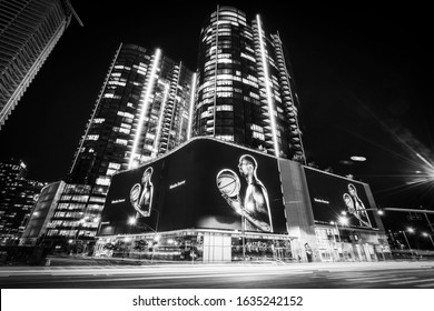 """los angeles:02-03-20: """"Mamba forever"""" tribute to Kobe Bryant  on screens displaying at night."""