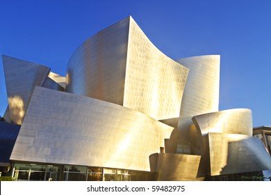 LOS ANGELES-AUGUST 21: Frank Gehry's iconic and distinctive modern architecture of the Disney Concert Hall gives the Los Angeles skyline it's readily identifiable characteristic. August 21, 2010.
