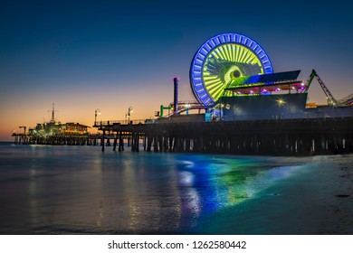LOS ANGELES-August 3, 2018: Santa Monica Pier at sunset in Los Angeles on August 3, 2018.
