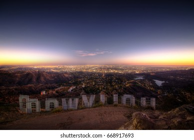 """LOS ANGELES,CA, USA. September 25th,2016. The Hollywood sign. """"HOLLYWOOD"""" is spelled out in 45-foot tall capital letters and is 350 feet long."""