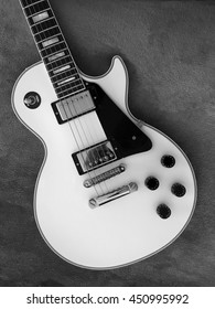 LOS ANGELES/CALIFORNIA - APRIL 14, 2016: Gibson Les Paul Custom electric guitar with an Alpine White body. Los Angeles, California USA