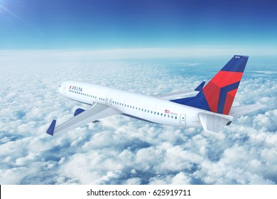 LOS ANGELES/CALIFORNIA - APRIL 20th, 2017: Delta Airlines Boeing 737-800 on approach to runway at Los Angeles International Airport in Los Angeles, California, USA. 3D Illustration