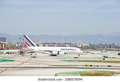 LOS ANGELES/CALIFORNIA - APRIL 21, 2018: Air France Airbus A380 aircraft taxiing along the taxiway upon arrival at Los Angeles International Airport. Los Angeles, California USA