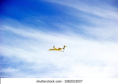 LOS ANGELES/CALIFORNIA - APRIL 21, 2018: Corporate owned Learjet 45XR is airborne as it departs Los Angeles International Airport. Los Angeles, California USA