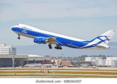 LOS ANGELES/CALIFORNIA - APRIL 21, 2018: Air Bridge Cargo Boeing 747 aircraft is airborne as it departs Los Angeles International Airport. Los Angeles, California USA
