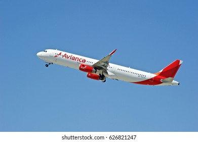 LOS ANGELES/CALIFORNIA - APRIL 23, 2017: Avianca Airbus A321-231 aircraft is airborne as it departs Los Angeles International Airport. Los Angeles, California USA