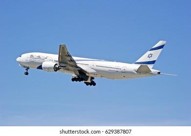 LOS ANGELES/CALIFORNIA - APRIL 23, 2017: El Al Boeing 777-258(ER) is airborne as it departs Los Angeles International Airport. Los Angeles, California USA