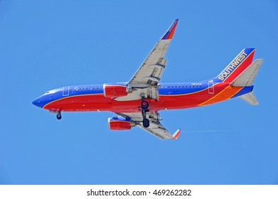 LOS ANGELES/CALIFORNIA - AUG. 12, 2016: Southwest Airlines Boeing 737 commercial aircraft approaches runway for a landing at Los Angeles International Airport, Los Angeles, California USA