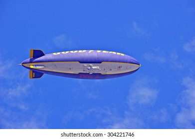 """LOS ANGELES/CALIFORNIA - AUG 6, 2015: Goodyear Blimp """"Spirit of America"""" navigates the skies in Southern California before it becomes decommissioned Monday Aug.10, 2015 in Los Angeles, California, USA"""