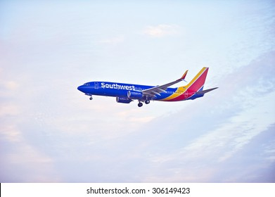 LOS ANGELES/CALIFORNIA - AUG. 6, 2015: Southwest Airlines Boeing 738 commercial jet approaches runway for a landing at Los Angeles International Airport in Los Angeles, California, USA