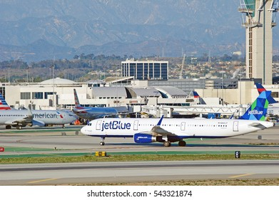 LOS ANGELES/CALIFORNIA - DEC. 17, 2016: Jet Blue Airbus A321 aircraft is airborne as it departs Los Angeles International Airport, Los Angeles, California USA