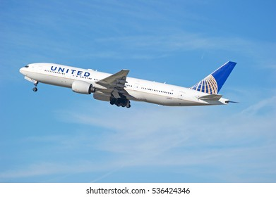 LOS ANGELES/CALIFORNIA - DEC. 4, 2016: United Airlines Boeing 777-222 aircraft is airborne as it departs Los Angeles International Airport, Los Angeles, California USA
