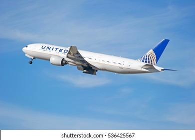 LOS ANGELES/CALIFORNIA - DEC. 4, 2016: United Airlines Boeing 777-222 is airborne as it departs Los Angeles International Airport, Los Angeles, California USA