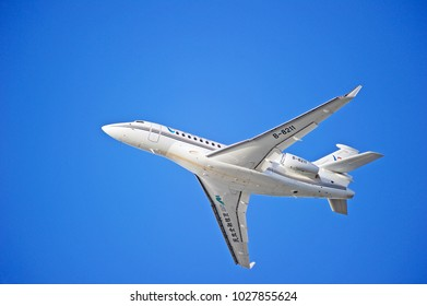 LOS ANGELES/CALIFORNIA - FEB. 18, 2018: Dassault Falcon 7X aircraft is airborne as it departs Los Angeles International Airport. Los Angeles, California USA