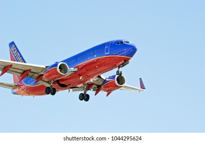 LOS ANGELES/CALIFORNIA - FEB. 18, 2018: Southwest Airlines Boeing 737 aircraft approaching the runway to make a landing at Los Angeles International Airport. Los Angeles, California USA