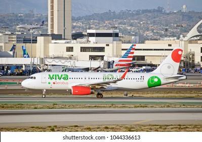 LOS ANGELES/CALIFORNIA - FEB. 18, 2018: VivaAerobus Airlines Airbus A320-233 aircraft taxiing along the runway upon arrival at Los Angeles International Airport. Los Angeles, California USA