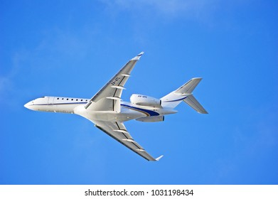 LOS ANGELES/CALIFORNIA - FEB. 18, 2108: Privately owned Bombardier Global 6000 aircraft is airborne as it departs Los Angeles International Airport. Los Angeles, California  USA