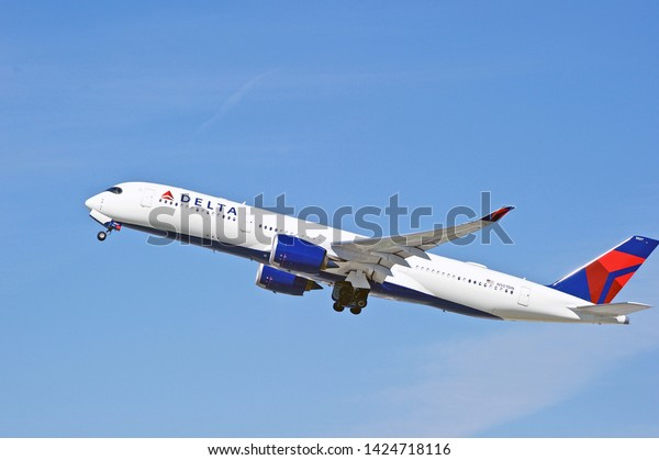 LOS ANGELES/CALIFORNIA - FEB. 23, 2019: Delta Air Lines Airbus A350 aircraft is airborne as it departs Los Angeles International Airport. Los Angeles, California USA