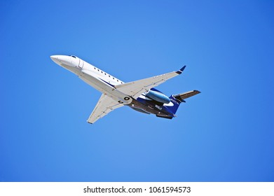 LOS ANGELES/CALIFORNIA - FEB. 24, 2018: Corporate owned Embraer EMB-135BJ aircraft is airborne as it departs Los Angeles International Airport. Los Angeles, California USA