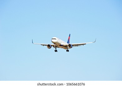 LOS ANGELES/CALIFORNIA - FEB 24, 2018: Delta Air Lines Boeing 757 aircraft       approaching the runway to make a landing at Los Angeles International Airport. Los Angeles, California USA