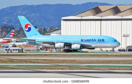 LOS ANGELES/CALIFORNIA - FEB. 24, 2018: Korean Airlines Airbus A380 aircraft taxiing along the taxiway upon arrival at Los Angeles International Airport. Los Angeles, California USA