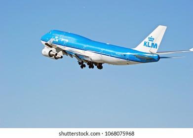 LOS ANGELES/CALIFORNIA - FEB. 24, 2018: KLM (Royal Dutch Airlines) Boeing 747 is airborne as it departs Los Angeles International Airport. Los Angeles, California USA