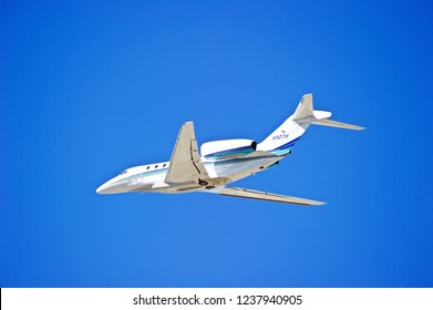 LOS ANGELES/CALIFORNIA - FEB. 24, 2018: Corporate owned Cessna 750 Citation X is airborne as it departs Los Angeles International Airport. Los Angeles, California USA