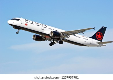 LOS ANGELES/CALIFORNIA - FEB. 24, 2018: Air Canada Airbus A321 aircraft is airborne as it departs Los Angeles International Airport. Los Angeles, California USA