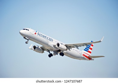 LOS ANGELES/CALIFORNIA - FEB. 24, 2018: American Airlines Airbus A321 aircraft is airborne as it departs Los Angeles International Airport. Los Angeles, California USA