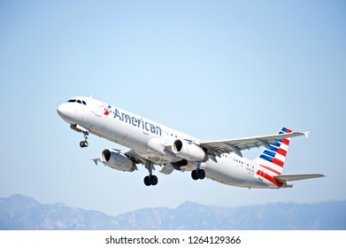 LOS ANGELES/CALIFORNIA - FEB. 24, 2018: American Airlines Airbus A321 is airborne as it departs Los Angeles International Airport. Los Angeles, California USA