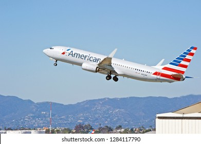 LOS ANGELES/CALIFORNIA - FEB. 24, 2018: American Airlines Boeing 737 aircraft is airborne as it departs Los Angeles International Airport. Los Angeles, California USA
