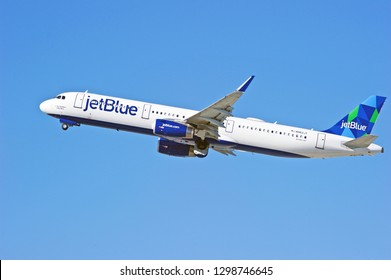 LOS ANGELES/CALIFORNIA - FEB. 24, 2018: JetBlue Airways Airbus A321 aircraft is airborne as it departs Los Angeles International Airport. Los Angeles, California USA