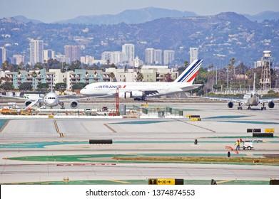 LOS ANGELES/CALIFORNIA - FEB. 24, 2018: Air France Airbus A380 aircraft taxiing along the runway upon arrival at Los Angeles International Airport. Los Angeles, California USA